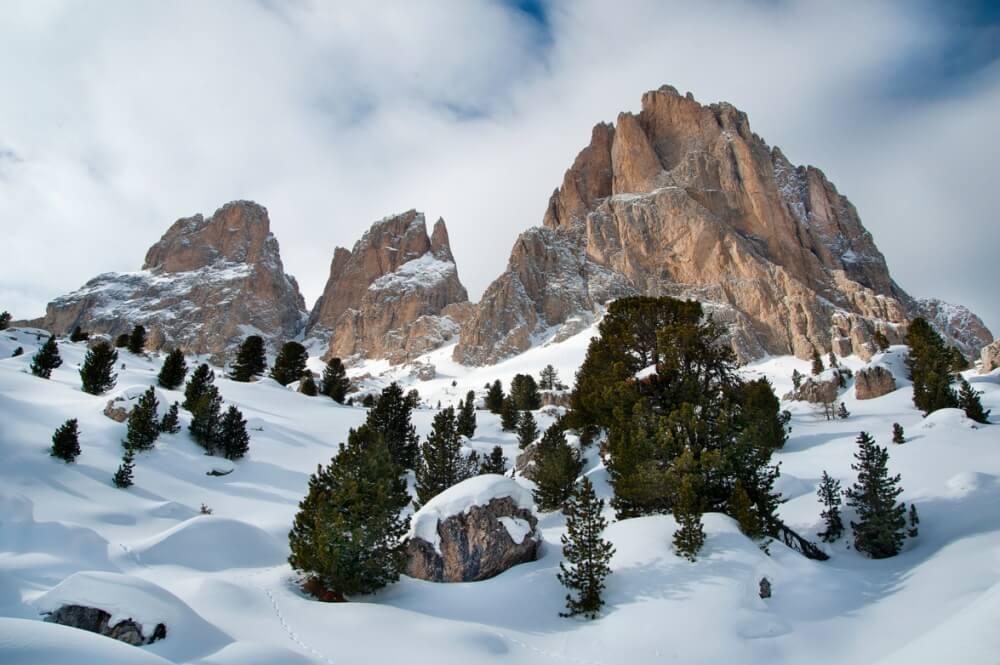 зима сказочно прекрасна, Доломиты, Италия