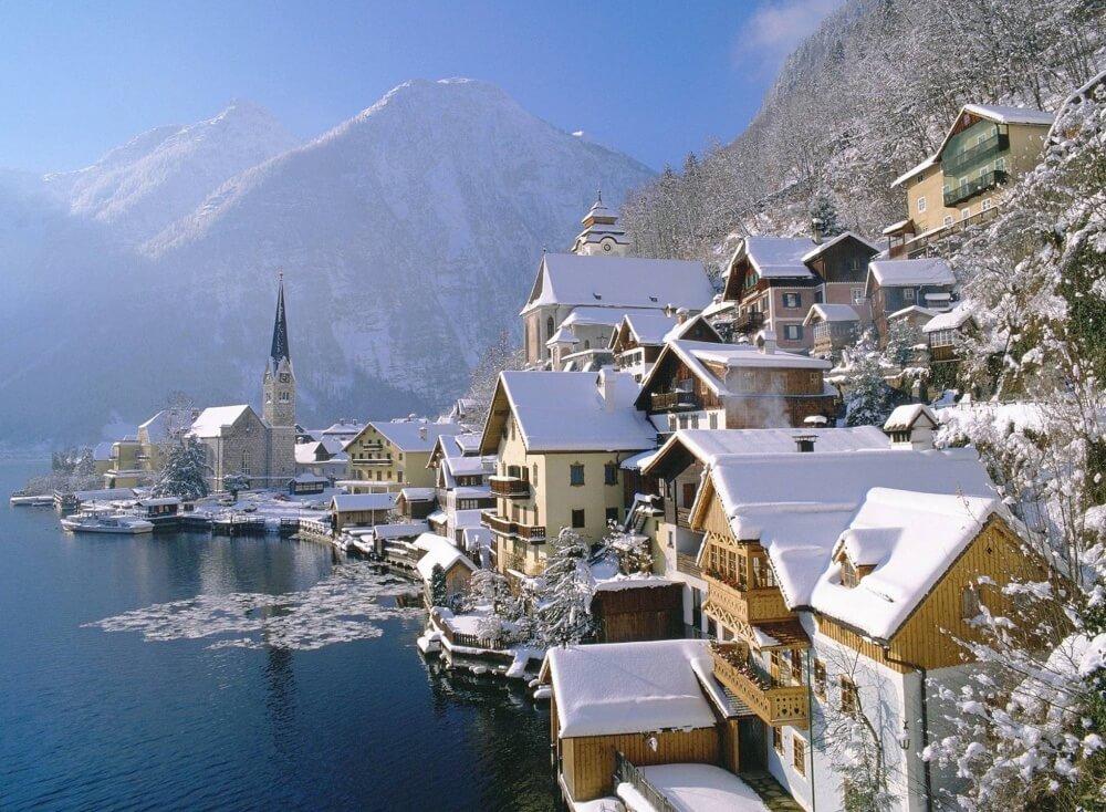 зима сказочно прекрасна, Гальштат, Австрия