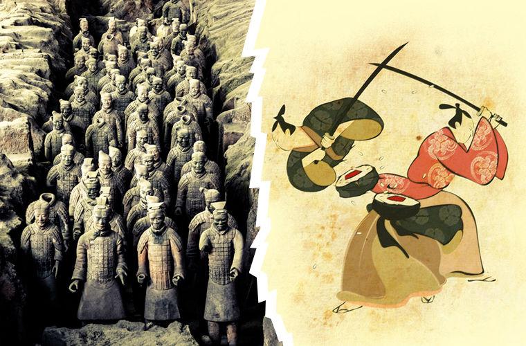 Китай и Япония, различие в воинах