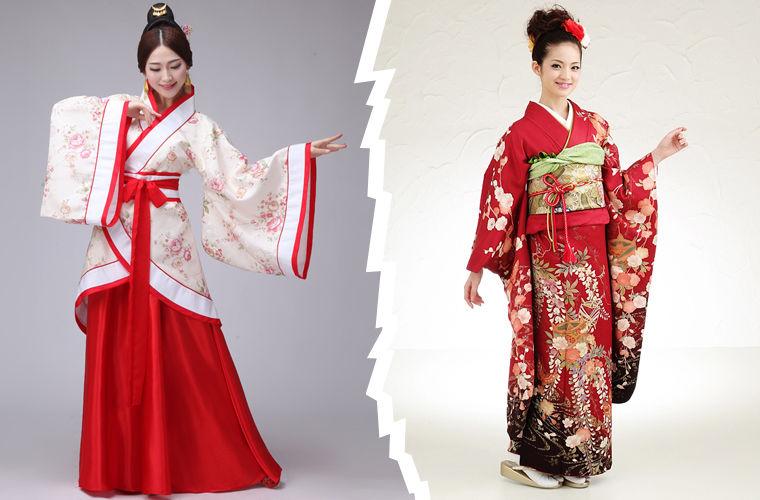 Китай и Япония, различие в нарядах