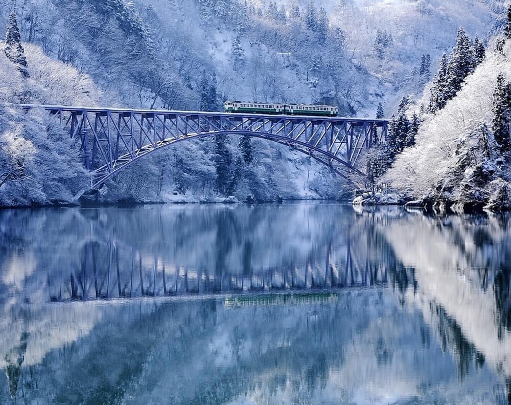 зима сказочно прекрасна, Река Тадами, Япония