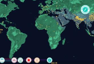 Визуализация роста населения на планете Земля